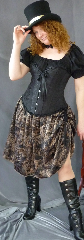 "Skirt:K67, Skirt Color:Black Print on Tan/ Tan and Black Brocade, Skirt Style:Reversible Double Rouched, Fiber:Poly Brocade/Print, Length:22"", Waist:60""."
