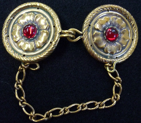 Filigree Diamond Floral with red clasp