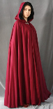A lady's deep red full circle wool cloak with a black lined hood and a clasp at the neck, which can be made in fleece and other fabrics.