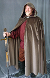 A man in a brown wool full circle cloak, which can be made in fleece and other fabrics and in other colours.
