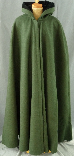 An olive green winter weight shape shoulder wool cloak with a black cotton velveteen hood lining.