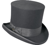 A grey wool felt top hat which can be accessorized with various hat bands and Victorian hat pins and brooches.