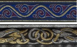 An image of two samples of machine-washable trim, one zoomorphic metallic trim with celtic beasties available in multiple colour combinations which include silver, gold, blue, red and grey, and one more geometric design called stylized swirl with gold, blue and maroon, which can be sewn onto garments to enhance and customize clothing.