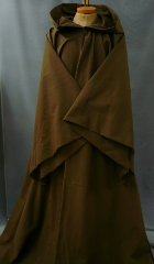 "Robe:R102, Robe Style:Obi-Wan/Qui Gon, Robe Color:Medium Dark Brown, Front/Collar:Hooded with Brown cloth-covered hook and eye, Approx. Size:L to XXXL, Fiber:97% Heavy Cotton Twill 3% Lycra, Neck Length:23"", Sleeve:36"", Chest:60"", Length:67"", Height:6'7""."