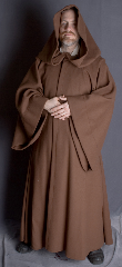 "Robe:R110, Robe Style:Jedi Robe, Episode II and III Obi-Wan, Robe Color:Cinimon Brown, Front/Collar:Hooded with Brown cloth-covered hook and eye, Approx. Size:L to XXL, Fiber:100% Wool Melton - Heavy (Dry Clean Only), Neck Length:23"", Sleeve:33"", Chest:55"", Length:56"", Height:5'9""."