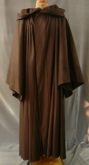 "Robe:R118, Robe Style:Qui Gon Robe, Robe Color:Dark Brown, Front/Collar:Hooded with Brown cloth-covered hook and eye, Approx. Size:L to XXXL, Fiber:Fine Wool Flannel, Neck Length:28"", Sleeve:35"", Chest:54"", Length:54"", Height:Up to 5'4""."