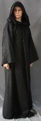 Robe:R133, Robe Style:Straight Ritual Robe or Mage Robe, Robe Color:Black Sparkle, Front/Collar:This generously hooded robe is closed with a <br>hidden black cloth-covered hook and eye.<br>This robe also has side-seam pockets!, Approx. Size:S-M, Fiber:100% Polyester, Neck:Up to 16&quot;, Neck Length:20&quot;, Sleeve:32&#039;, Chest:36&quot;, Length:62&quot;, Height:6&#039;2&quot;, Note:This black sparkly fabric ritual robe is perfect for ritual wear, <br>Halloween fun or even a nice medium weight bathrobe.  <br>The machine washable fabric is soft and warm..
