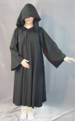"Robe:R148, Robe Style:Sith, Robe Color:Black, Front/Collar:Hooded with Black heavy duty snap, Approx. Size:Small Adult - Teen Junior, Fiber:Fine Worsted Suiting Wool, Neck Length:19"", Sleeve:29"", Chest:40"", Length:44"", Height:4'9""."