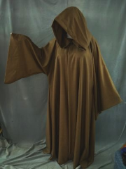"Robe:R150, Robe Style:Jedi Robe, Episode II and III Obi-Wan, Robe Color:Heathered Brown, Front/Collar:Hooded with Brown cloth-covered hook and eye, Approx. Size:XL to XXXL, Fiber:Worsted Wool, Neck:Up to 23"", Neck Length:27"", Sleeve:39"", Chest:Fits up to 68"" (72""), Length:60"", Height:Up to 6'0""."
