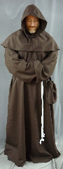 "Robe:R151, Robe Style:Monk's Robe with removable hooded cowl, Robe Color:Brown, Front/Collar:keyhole neck, Approx. Size:XL to XXXL, Fiber:Worsted Wool Gabardine, Neck:Up to 23"", Neck Length:27"", Sleeve:38"", Chest:Fits up to 62"" (67""), Length:63"", Height:6'3"", Note:Comes with Rope Belt and Pouch."