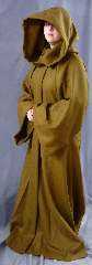 "Robe:R152, Robe Style:Jedi Robe, Episode I Obi-Wan, Robe Color:Cinnamon/Tan, Front/Collar:Hooded with Brown cloth-covered hook and eye, Approx. Size:M to L, Fiber:Harris Tweed Wool, Neck:Up to 21"", Neck Length:25"", Sleeve:37"", Chest:Fits up to 44"" (49""), Length:60"", Height:Up to 5'11""."