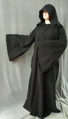 "Robe:R160, Robe Style:Black Anakin Episode III near the end Robe, Robe Color:Black, Front/Collar:Hooded with Black cloth-covered hook and eye, Approx. Size:M to L, Fiber:Cotton Moleskin, Neck:Up to 18"", Neck Length:22"", Sleeve:36"", Chest:Fits up to 41"" (46""), Length:63"", Height:Up to 6'3""."