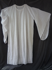 "Robe:R161, Robe Style:Ritual Robe, Robe Color:White, Front/Collar:Wide rounded neck, Approx. Size:5X - 7X, Fiber:100% Linen, Neck:Up to 24"", Neck Length:30"", Sleeve:39"", Chest:Fits up to 74"" (78""), Length:66"", Height:Up to 6' 6"", Note:Can be ordered with removable cowl for an additional $40."