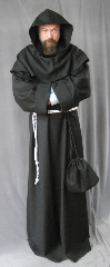 "Robe:R165, Robe Style:Monk's Robe with removable hooded cowl, Robe Color:Black, Front/Collar:Round neck, Approx. Size:L to XXXL, Fiber:Fine Black Wool Flannel, Sleeve:34"", Chest:64"", Length:62"", Height:Up to 6'2"", Note:Rope Belt and Pouch are included. Hand wash cold and line dry.."