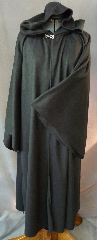 "Robe:R167, Robe Style:Sith, Robe Color:Black, Front/Collar:Hooded with silvertoned plain rope hook & eye, Approx. Size:10 years to Small Adult, Fiber:Fleece, Neck:20"", Sleeve:25"", Chest:36"", Length:50""."