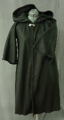 "Robe:R169, Robe Style:Harry Potter style Student Robe / Cloak, Robe Color:Black, Front/Collar:Hooded with Fleur de Lis clasp, Approx. Size:10 years to Small Adult, Fiber:Fleece, Neck:20"", Sleeve:23"", Chest:35"", Length:40"", Note:Perfect for Hogwarts Scholar."