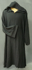 "Robe:R175, Robe Style:Monk's Robe with attached hooded cowl, Robe Color:Black, Front/Collar:Round neck with attached hooded cowl, Fiber:Barkcloth - Rayon/Cotton, Neck:26"", Sleeve:34"", Chest:52"", Length:48""."