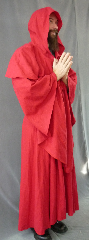 "Robe:R176, Robe Style:Monk's Robe with removable hooded cowl, Robe Color:Red, Front/Collar:Round neck, Approx. Size:XXL - 5X, Fiber:100% Linen, Sleeve:32', Chest:60"", Length:55"", Height:Up to 5'8""."