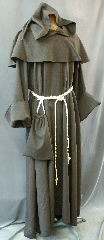 "Robe:R178, Robe Style:Monk's Robe with removable hooded cowl with liripipe, Robe Color:Grey, Front/Collar:Round neck, Fiber:Washed Wool, Neck:29"", Sleeve:34"", Chest:68"", Length:57"", Note:Rope Belt and Pouch are included. Hand wash cold and line dry.."