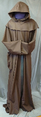 "Robe:R180, Robe Style:Monk's Robe with removable hooded cowl, Robe Color:Brown, Front/Collar:Round neck, Approx. Size:L to XXXL, Fiber:Wool Garbardine, Neck:31"", Sleeve:35.5"", Chest:58"", Length:63"", Height:Up to 6' 5"". Can be shortened, Note:Monks Robe comes with a rope belt (not shown) and pouch. The belt shown is available for an additional $35."