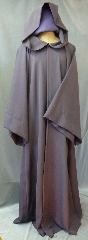 "Robe:R181, Robe Style:Jedi Robe Episode I Obi-Wan, Robe Color:Raisin Brown, Front/Collar:Hooded with Brown cloth-covered hook and eye, Approx. Size:M to XXL, Fiber:Wool Suiting, Neck:23"", Sleeve:34"", Chest:58"", Length:66"", Height:Up to 6' 6""."