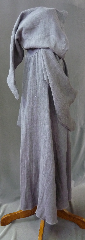 "Robe:R183, Robe Style:Gandalf the Grey, Robe Color:Grey, Front/Collar:Hooded with liripipe, florentine hook & eye clasp, Approx. Size:Youth / Small Adult, Fiber:Heavy Coarse Linen, Neck:23"", Sleeve:31"", Chest:48"", Length:48"", Height:Up to 5'."