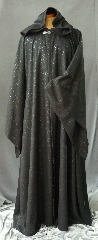 "Robe:R185, Robe Style:Ritual Robe or Mage Robe, Robe Color:Black Sparkle, Front/Collar:Hooded with Antiquity clasp, Approx. Size:M to XL, Fiber:100% Polyester, Neck:21"", Sleeve:33"", Chest:48"", Length:67"", Height:Up to 6' 7""."