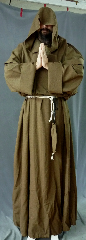 "Robe:R188, Robe Style:Monk's Robe with removable hooded cowl, Robe Color:Brown, Front/Collar:Wide rounded neck, Approx. Size:3X - 6X, Fiber:Tropical Weight Worsted Wool Suiting, Sleeve:38"", Chest:Fits up to 70 (74""), Length:70"", Height:Up to 6'10"", Note:Rope Belt and Pouch are included. Hand wash cold and line dry.."