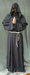 "Robe:R189, Robe Style:Monk's Robe with removable hooded cowl, Robe Color:Midnight Brown, Front/Collar:Round neck, Approx. Size:L to XXXXL, Fiber:Wool Garbardine, Sleeve:37"", Chest:Fits up to 62"" (66""), Length:62"", Height:Up to 6""2"", Note:Rope Belt included. Hand wash cold and line dry.."