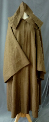 "Robe:R199, Robe Style:Jedi Robe, Episode I Obi-Wan, Robe Color:Heathered Light Brown, Front/Collar:Hooded with Brown cloth-covered hook and eye, Approx. Size:Youth 10-14 years old, Fiber:Washed Tropical Weight Worsted Wool Suiting, Neck:Up to 15"", Neck Length:20"", Sleeve:32', Chest:Up to 46"", Length:51"", Height:Up to 5'1""."