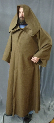 "Robe:R202, Robe Style:Jedi Robe, Episode I Obi-Wan, Robe Color:Heathered Light Brown, Front/Collar:Hooded with Brown cloth-covered hook and eye, Approx. Size:L to XXL, Fiber:Washed Tropical Weight Worsted Wool Suiting, Neck:23.5"", Sleeve:34"", Chest:56"", Length:56.5"", Height:up to 5'6""."