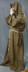 "Robe:R203, Robe Style:Monk's Robe with removable hooded cowl, Robe Color:Heathered Light Brown, Front/Collar:Round neck, Approx. Size:L to XXXL, Fiber:Washed Tropical Weight Worsted Wool Suiting, Sleeve:37"", Chest:66"", Length:65"", Height:up to 6' 5"", Note:Rope Belt and Pouch are included. Machine wash cold and line dry.."