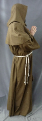"Robe:R204, Robe Style:Monk's Robe with removable hooded cowl, Robe Color:Heathered Light Brown, Front/Collar:Round neck, Approx. Size:L to XXXL, Fiber:Washed Tropical Weight Worsted Wool Suiting, Sleeve:34"", Chest:61"", Length:60"", Height:up to 6', Note:Rope Belt and Pouch are included. Machine wash cold and line dry.."