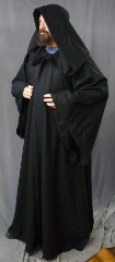 "Robe:R205, Robe Style:Sith, Robe Color:Black, Front/Collar:Hooded with Black cloth-covered hook and eye, Approx. Size:L to XXXXL, Fiber:Wool Flannel, Neck:24"", Sleeve:35"", Chest:60"", Length:62"", Height:up to 6' 2""."