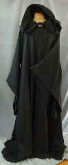 "Robe:R207, Robe Style:Emperor Palpatine / Darth Sidious Outer Robe, Robe Color:Black, Front/Collar:Hooded with Black enamel painted pewter clasp, Approx. Size:3X - 6X, Fiber:Wool Broken Weave Twill, Lightweight, Neck:26"", Sleeve:37"", Chest:Fits up to 70 (76""), Length:67"", Height:Up to 6' 7""."