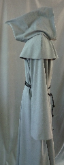"Robe:R208, Robe Style:Franciscan Monk's robe with removable hooded cowl (slightly pointed), Robe Color:Franciscan monk grey, Front/Collar:Round keyhole neck, Approx. Size:L to XXL, Fiber:Worsted Wool Blend, Sleeve:39"" (Cuffed to 34""), Chest:58"", Length:60"", Height:up to 6', Note:Rope Belt and Pouch (not shown) are included. Machine wash cold and line dry.."