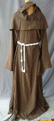 "Robe:R213, Robe Style:Monk's Robe with removable hooded cowl, Robe Color:Brown, Front/Collar:keyhole neck, Fiber:60% Wool 40% Rayon Twill, Sleeve:37"", Chest:60"", Length:65"", Height:up to 6' 5"", Note:Comes with Rope Belt and Pouch."