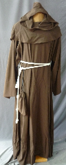 "Robe:R214, Robe Style:Monk's Robe with removable hooded cowl, Robe Color:Brown, Front/Collar:keyhole neck, Fiber:60% Wool 40% Rayon Twill, Sleeve:34"", Chest:56"", Length:52"", Note:Comes with Rope Belt and Pouch."