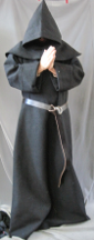 "Robe:R226, Robe Style:Monk's Robe with removable hooded cowl, Robe Color:Black, Front/Collar:keyhole neck, Approx. Size:XL to XXXXL, Fiber:100% Polyester Chunky Yarn Weave, Sleeve:37"", Chest:60"", Length:63"", Height:Up to 6'."