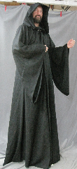 "Robe:R235, Robe Style:Sith, Robe Color:Black, Front/Collar:Hooded with Black cloth-covered hook and eye, Fiber:Light weight wool blend flat weave, Neck:25"", Sleeve:35"", Chest:49"", Length:68"", Height:Up to 6' 8""."