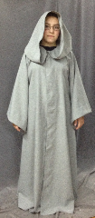 "Robe:R236, Robe Style:Gandalf the Grey, Robe Color:Light Grey, Front/Collar:Hooded with liripipe, florentine hook & eye clasp, Fiber:Polyester, Neck:21"", Sleeve:28"", Chest:48"", Length:54"", Height:Up to 5' 7""."