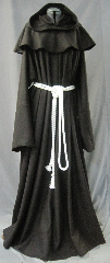 "Robe:R240, Robe Style:Monk's Robe with removable hooded cowl, Robe Color:Dark Brown, Front/Collar:Round neck, Fiber:Midweight Wool Melton, Neck:29"", Sleeve:40"", Chest:56"", Length:66"", Height:Up to 6' 6"", Note:Rope Belt and Pouch are included. Dry Clean Only.."