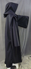 "Robe:R241, Robe Style:Michaeline Monk's Robe, Robe Color:Midnight Blue, Front/Collar:Hooded with plain rope hook and eye clasp, Fiber:Wool blend Suiting, Neck:22"", Sleeve:35"", Chest:60"", Length:57"", Height:Up to 5' 9"", Note:Dry clean or Hand Wash/Line Dry."
