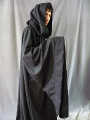"Robe:R242, Robe Style:Sith, Robe Color:Black, Front/Collar:Hooded with metal rope hook and eye clasp, Fiber:Flat Weave Light Weight Wool, Neck:24"", Sleeve:40"", Chest:Up to 60"", Length:68"", Height:Up to 6' 8""."