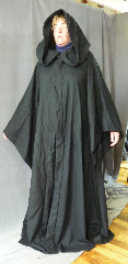 "Robe:R246, Robe Style:Sith or Holocaust Style Cloak, Robe Color:Black, Front/Collar:Hooded with Black cloth-covered hook and eye, Fiber:Flat Weave Light Weight Wool, Neck:26"", Sleeve:34"", Chest:Up to 48"", Length:66.5"", Height:Up to 6' 6""."
