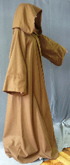 "Robe:R249, Robe Style:Obi-Wan Jedi Robe, Robe Color:Cinnamon Brown, Front/Collar:Hooded with Brown cloth-covered hook and eye, Fiber:100% Wool Melton, Neck:21"", Sleeve:36"", Chest:Up to 48"", Length:64"", Height:up to 6' 4""."