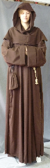 "Robe:R250, Robe Style:Monk's Robe with removable hooded cowl, Robe Color:Brown, Front/Collar:Round neck, Approx. Size:XL to XXXXL, Fiber:Fine Wool Blend Suiting, Sleeve:38"", Chest:60"", Length:67"", Height:Up to 6' 7"", Note:Machine washable. Comes with Rope Belt and Pouch."
