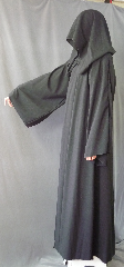 "Robe:R254, Robe Style:Grim Reaper, Robe Color:Black, Front/Collar:Hooded with plain rope hook and eye clasp, Fiber:Wool Suiting, Neck:21"", Sleeve:35"", Chest:44"", Length:60"", Height:Up to 6'."