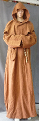 "Robe:R255, Robe Style:Monk's Robe with removable hooded cowl, Robe Color:Terra Cotta, Front/Collar:Round neck, Fiber:100% Linen, Sleeve:35"", Chest:64"", Length:67"", Height:Up to 6' 7"", Note:Machine washable. Comes with Rope Belt and Pouch."