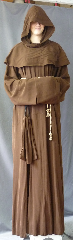 "Robe:R256, Robe Style:Monk's Robe with removable hooded cowl, Robe Color:Milk Chocolate, Front/Collar:Round neck, Fiber:Wool / Rayon blend, Sleeve:36"", Chest:62"", Length:63"", Height:Up to 6' 3"", Note:Rope Belt and Pouch are included. Dry Clean Only.."